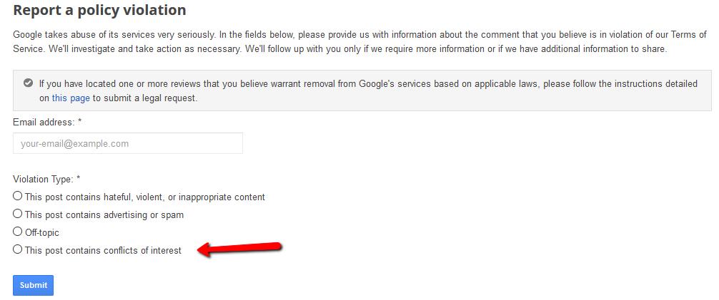 Dispute a google review